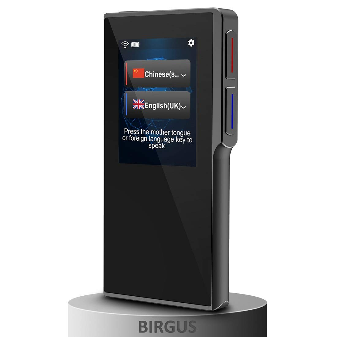 Birgus Smart Voice Translator Device with 2.4 Inch High Definition Touch Screen Support 70 Languages for Travelling Abroad Learning Shopping Business Chat Recording Translations