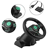 Braceus Gaming Steering Wheel, 180 Degrees Rotation ABS Gaming Vibration Racing Steering Wheel with Pedals, Suitable for Xbox 360, for PS2, for PS3