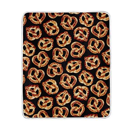 KEEPDIY Foodie Pretzels Blanket-Warm,Lightweight,Soft,Pet-Friendly,Throw for Home Bed,Sofa &Dorm 60 x 50 Inch -