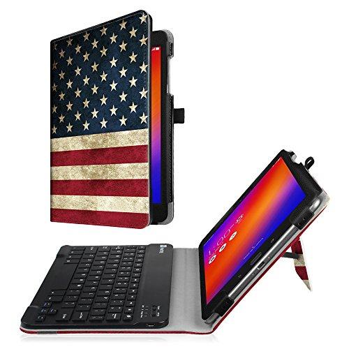 Fintie Asus ZenPad 3S 10 Z500M / ZenPad Z10 ZT500KL Keyboard Case - Slim Fit Folio Stand Cover w/ Detachable Wireless Bluetooth Keyboard for Verizon Asus ZenPad Z10 / 3S 10 9.7-Inch Tablet, US (Verizon Bluetooth)
