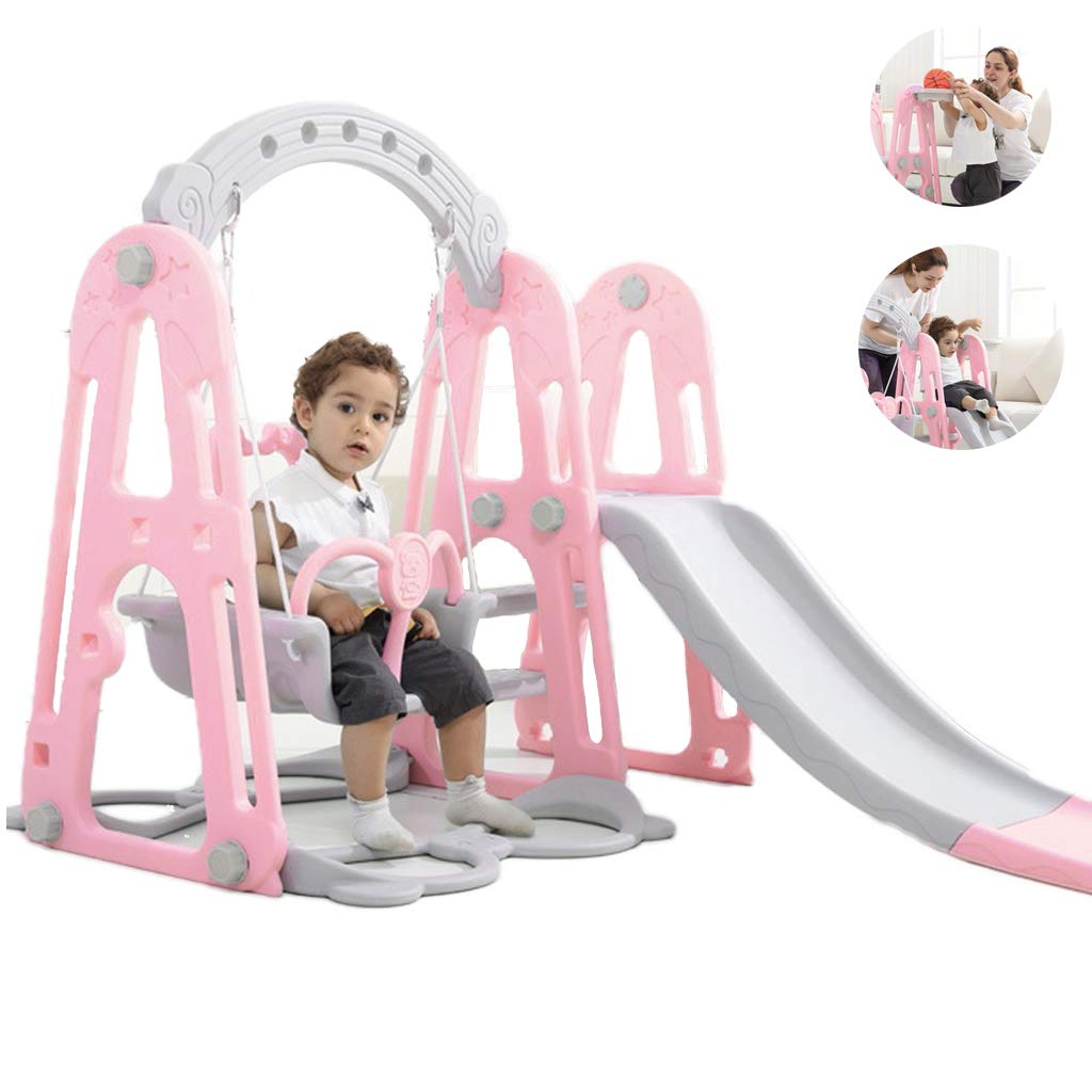 Mefedcy Toddler Climber and Slide Swing Set,3 in 1 Climber Slide Playset w/Basketball Hoop,Easy Climb Stairs, Small Kids Multifunctional Toys for Both Indoors & Backyard (Pink) by Mefedcy