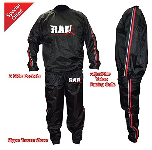 RAD Heavy Duty Sweat Suit Sauna Exercise Gym Suit Fitness Weight Loss Anti-Rip Red (Medium)