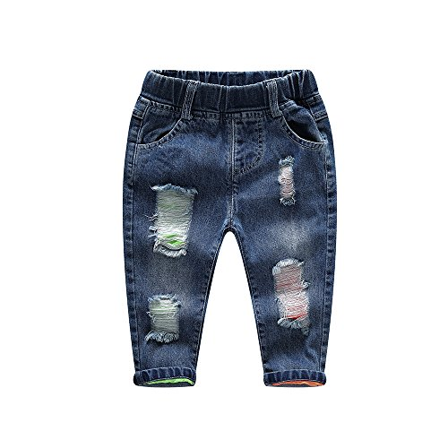 Denim Label Jeans (Koask Baby Little Boys/Girls Elastic Fashionable Ripped Denim Jeans (Label 90CM(18-24 Months)))