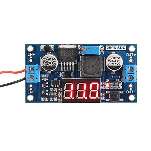 DROK LM2596 Analog Control Buck Converter DC-DC Step-down Transformer Voltage Regulator Module 36V 24V 12V to 5V 2A Power Inverter Volt Stabilizer with Red LED Display Voltmeter Board Input/Output Voltage