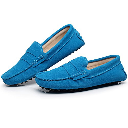 Soft Leather Moccasin Driving Loafers Blue rismart Sky Women's Suede Shoes Classic Slippers TUpYqO