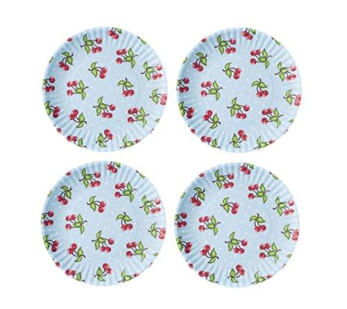 Set of 4 Red Cherries/Blue Background Reusable Melamine Plates-9