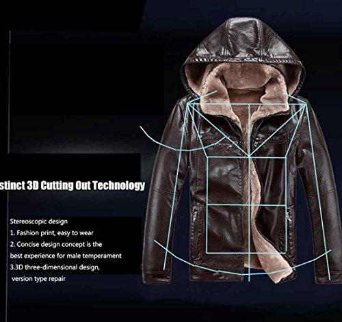 couro cuero Invierno abrigos Desmontable de Sombrero jaqueta Chaquetas hombres la los de de PU terciopelo más xl de brown cálido casuales Sx4qw5ZU