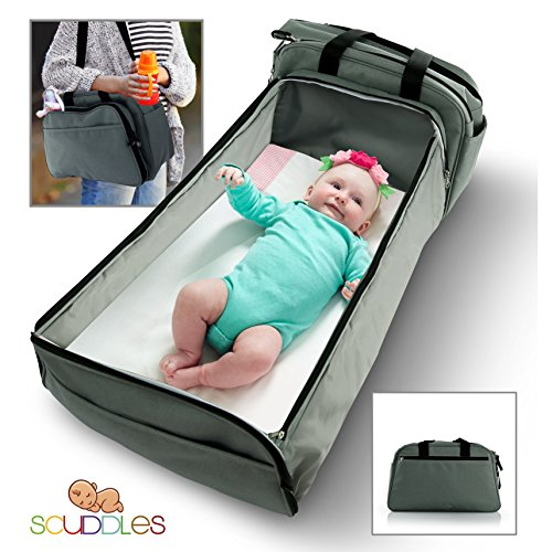 Scuddles- 3-1| portable bassinet | for baby | Foldable Baby Bed | Travel Bassinet Functions As A Diaper Bag And Changing Station , Easy Folding For Travel