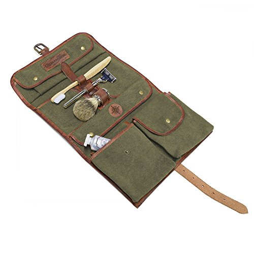 DRAKENSBERG Kimberley Wash Bag, toiletry, buffalo leather, canvas, olive green by DRAKENSBERG