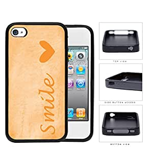 Smile Script with Heart ORANGE Color iPhone 4 4s Rubber Silicone TPU Cell Phone Case