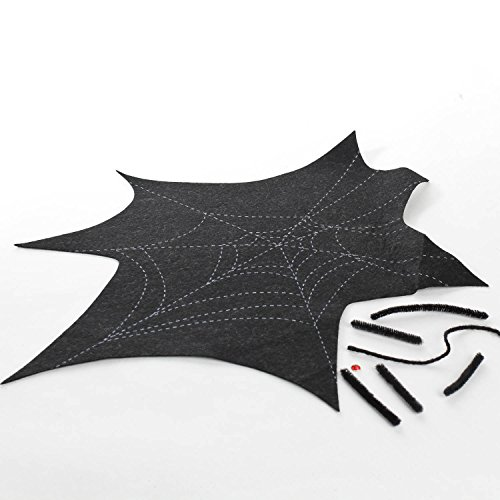 Group of Black Felt Halloween Cobweb Palcemat Kits- Makes 36 -