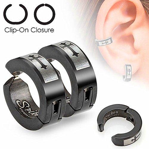 U2U Jewelry Pair of Surgical Stainless Steel Black IP Non-Piercing Clip On Earrings Laser Etched Die-Cut Crosses
