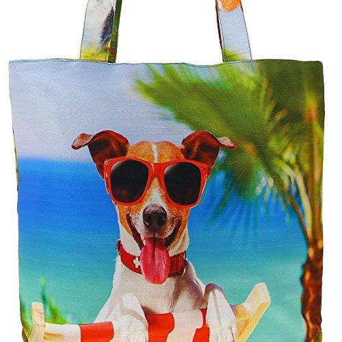 Digital stampato multiuso Moda Shopping Bag - Colorful Dogs Faux seta Tote Bag con Polysatin Fodera