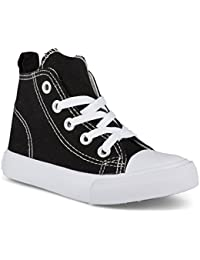 Fashion High-Top Canvas Sneakers - for Girls Boys Youth,...