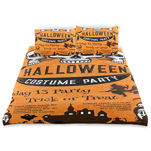 CANCAKA Halloween Duvet Cover Set Halloween Holiday Festive Poster Costume Horror Design Bedding Decoration Twin Size 3 PC Sets 1 Duvets Covers with 2 Pillowcase Microfiber Bedding Set Bedroom Decor -