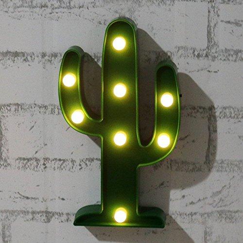 Lingstar plástico Tropical Cactus Marquee lámpara luz LED novedad jardín Cocktail Party Retro funciona con 2AA batería
