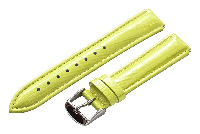 2367fbe02 Image Unavailable. Image not available for. Color: Clockwork Synergy - 18mm  x 15mm - Lime Green Lizard Grain Leather Watch Band fits Philip