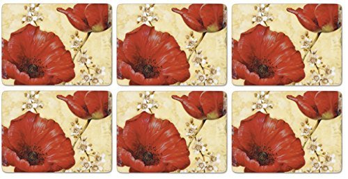 Pimpernel Poppies - Pimpernel Poppy De Villeneuve Placemats - Set of 6 by Pimpernel