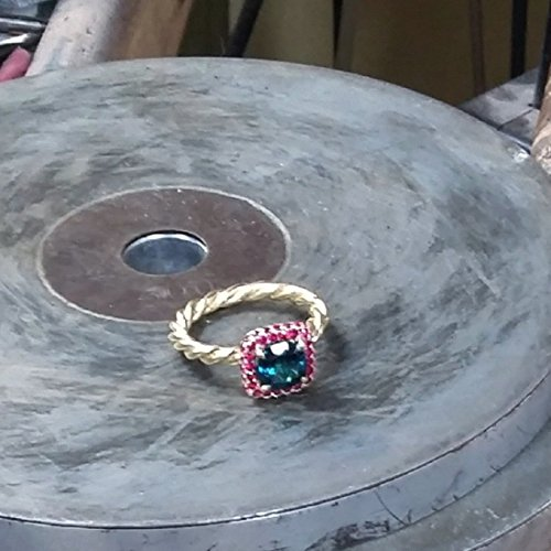 Handmade 18k yellow gold ring - Cocktail Statement blue green Tourmaline Ring-Rubies ring