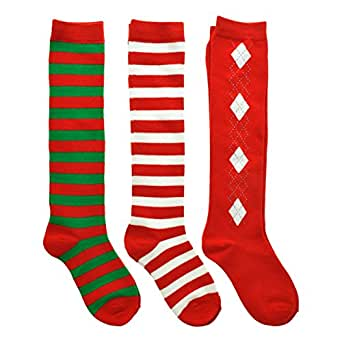 Angelina 3-Pack Kids Unisex Christmas Knee-High Cotton Socks, #2533_1-3