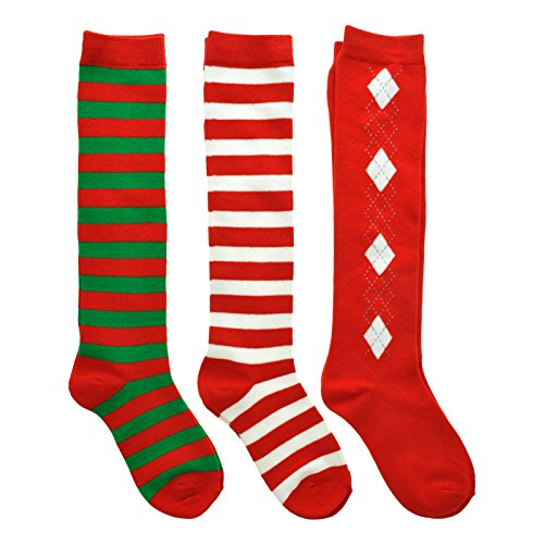 Angelina 3-Pack Adult Unisex Christmas Knee-High Cotton Socks, 2533_9-11]()
