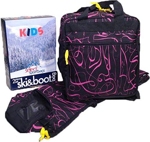 Kids Ski Bag and Boot Bag Set - Pink Print by Select Sportbags