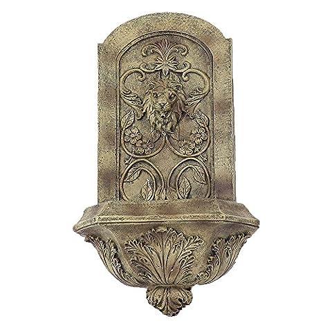 Sunnydaze Decorative Lion Solar Wall Fountain, Florentine Stone Finish, 25 Inch - Fs Florentine Sand