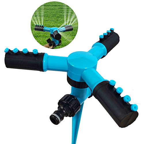 fibevon Lawn Sprinkler, Automatic Adjustable Garden Water Sprinkler, 360 Rotating Watering Lawn Irrigation System/Leak Free Durable 3 Arm Sprayers -