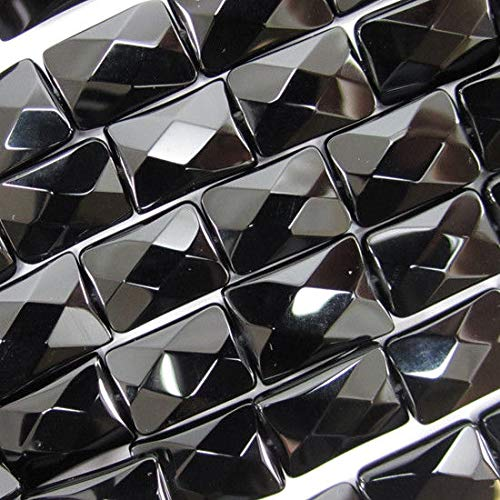 14mm Faceted Black Onyx Rectangle beads 15.5'' Strand
