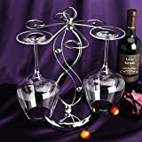 CdyBox Retro Red Wine Glass Stemware Rack Hanging Upside Down Goblet Storage Holder Rack (Stainless Steel-2)