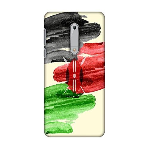 AMZER Slim Fit Handcrafted Designer Printed Snap On Hard Shell Case Back Cover for Nokia 5 - Kenya Flag- Brush Strokes HD Color, Ultra Light Back Case ()