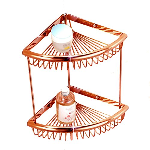 GQQ Shelves Bathroom fine Copper Racks Storage Baskets Corner Triangle Basket Basket Bathroom Shelf Pendant Antique 2 Layer Rose Gold