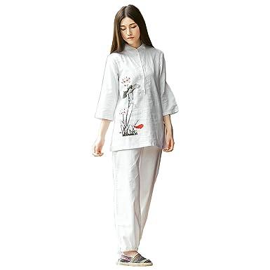 2b5b5b735 KSUA Womens Zen Meditation Suit Tai Chi Uniform Chinese Kung Fu Clothing  Cotton & Linen Yoga