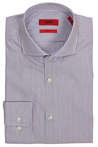 Hugo Boss Men's C-Meli Sharp Fit Spread Collar Stripe Dress Shirt (Berry, 15 32/33)