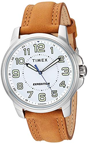 Timex Men's TW4B16400 Expedition Field Tan/White Leather Strap Watch - Brass Wrist Watch Leather