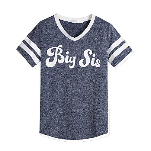 Perman Sisters Blouse, Summer Casual Big Sis Print Short Sleeve V-Neck Cotton Loose T-Shirt (L, Navy)
