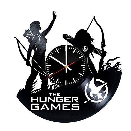 StoreForMore The Hunger Games Vinyl Clock - Catching Fire Mockingjay Vinyl Record Wall Art Handmade Decor - Best Original Vintage Gift for Men Women Kids - Home Room Kitchen Bedroom -