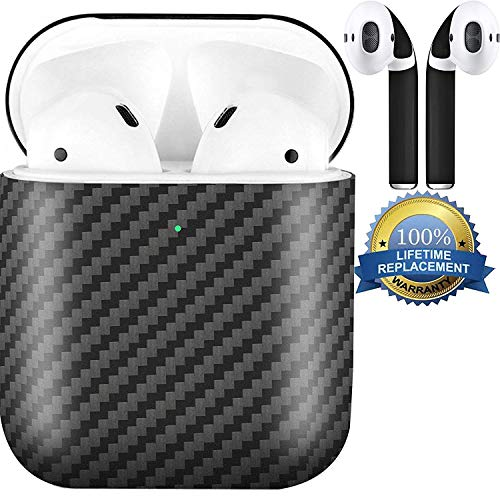 APSkins Real Carbon Fiber Hardshell Case Compatible with Apple AirPods 2 (Wireless Charging Light Visible) Comes with APSkins Black Air Pod Skins Wraps (Matte Black)