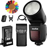 Godox V1-S Flash with Godox AK-R1 Accessories Kit for Sony, 76Ws 2.4G TTL Round Head Flash Speedlight, 1/8000 HSS, 1.5 sec. Recycle Time, 2600mAh Lithimu Battery, 10 Level LED Modeling Lamp ¡­