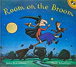 The witch and her cat are happily flying through the sky on a broomstick when the wind picks up and blows away the witch's hat, then her bow, and then her wand!  Luckily, three helpful animals find the missing items, and all they want in return is a ...