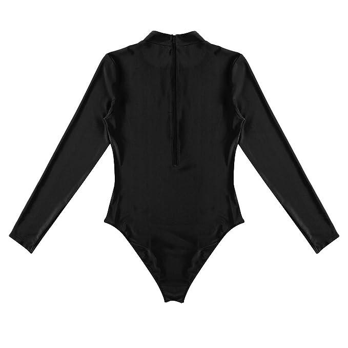 inhzoy Maillots de Bain 1 Pièce Body Femme Swimsuit Léotard Surf Bodysuit  Danse Justaucorps à Manche Longue Monokini Bikini Combinaisons Sculptantes  Gaine ... 8ce4e23fd5a
