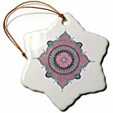 3dRose Andrea Haase Art Illustration - Pink Turquoise Mandala Ornament - 3 inch Snowflake Porcelain Ornament (orn_268251_1)