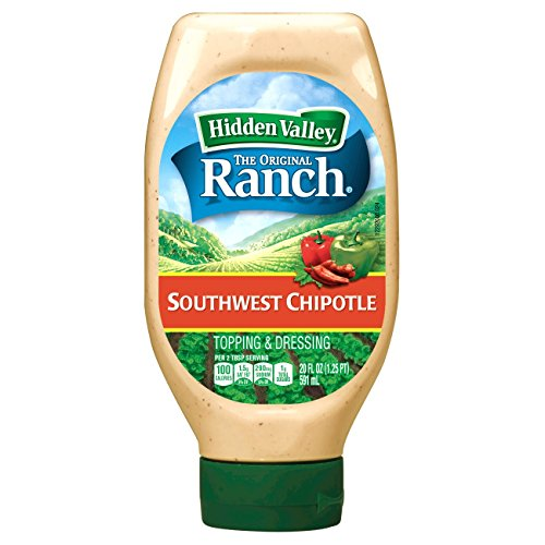 Hidden Valley Easy Squeeze Southwest Chipotle Ranch Topping & Dressing, Gluten Free - 20 Ounce Bottle (Pack of 6)