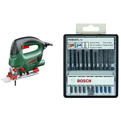 Bosch PST 800 PEL Jigsaw with Bosch Jigsaw Blade Set (10 Pieces)   Amazon.co.uk  DIY   Tools b7b4cdf294e