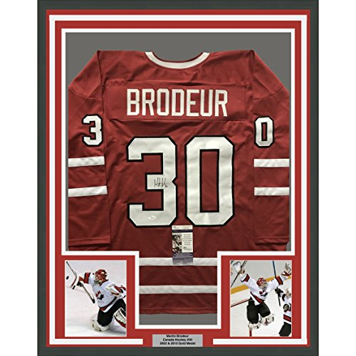 igned Martin Brodeur 33x42 Team Canada Olympics Red Hockey Jersey JSA COA ()