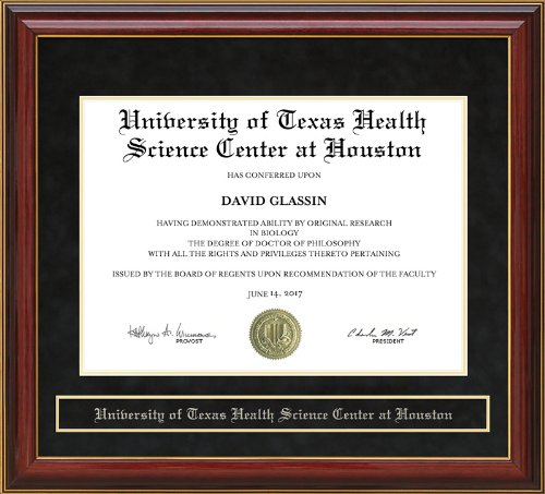 University of Texas Health Science Center at Houston (UTHSC-H) Diploma Frame - Mahogany by Wordyisms (Image #2)