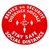 """DayMark Social Distance 16"""" French Floor Decal (10 Pack)"""