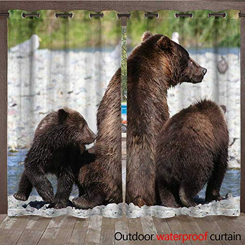 (WinfreyDecor Outdoor Curtain for Patio Mother Grizzly Bear and Cubs at The River W96 x L108)