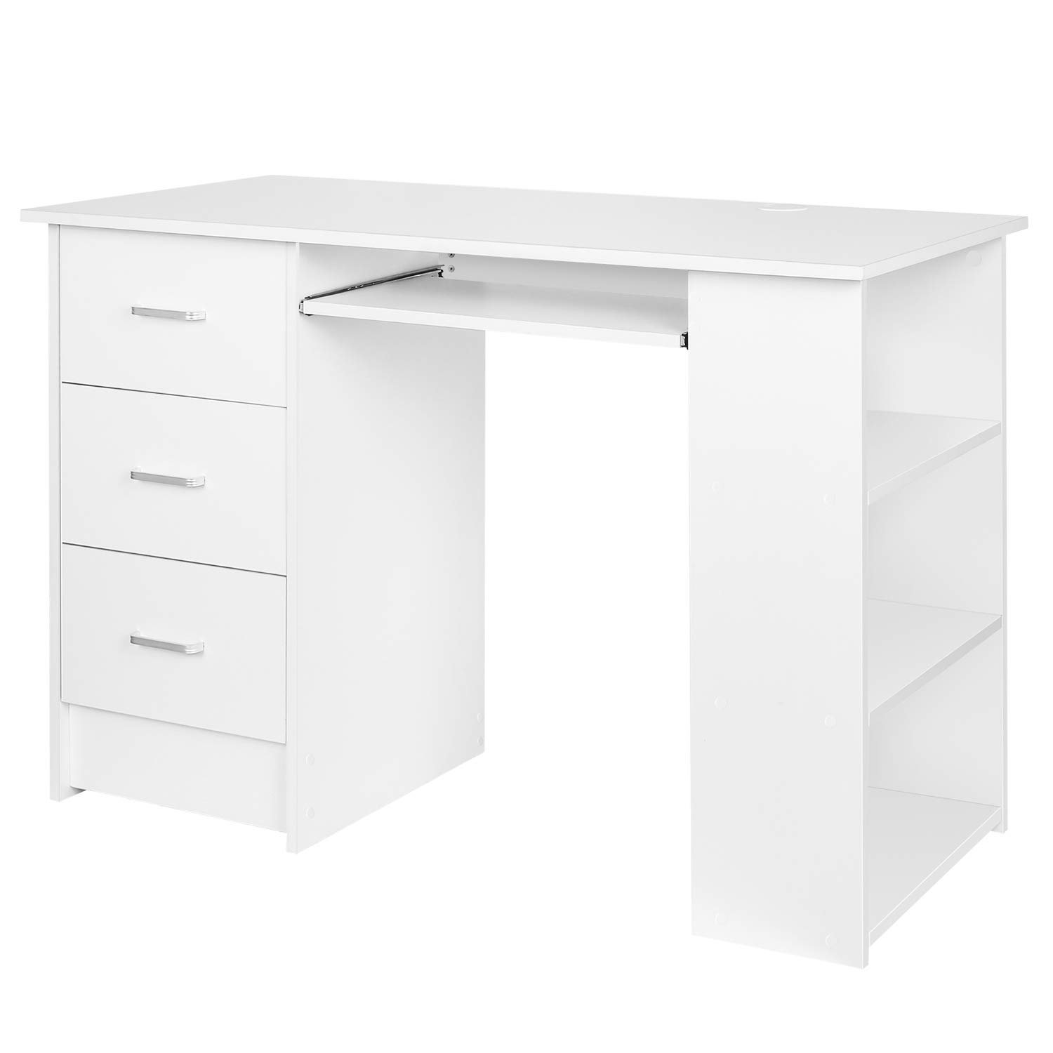 sports shoes bbf44 faf88 Homfa Computer Desk Home Office Workstation PC Laptop Table Study Desk with  3 Drawers and 3 Shelves Keyboard Shelf White 109x49x75cm