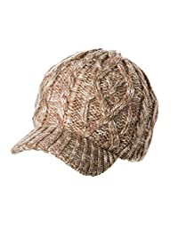 Siggi Newsboy Winter Hat Brim for Women Visor Beanie Jeep Cap Knit Warm Camel
